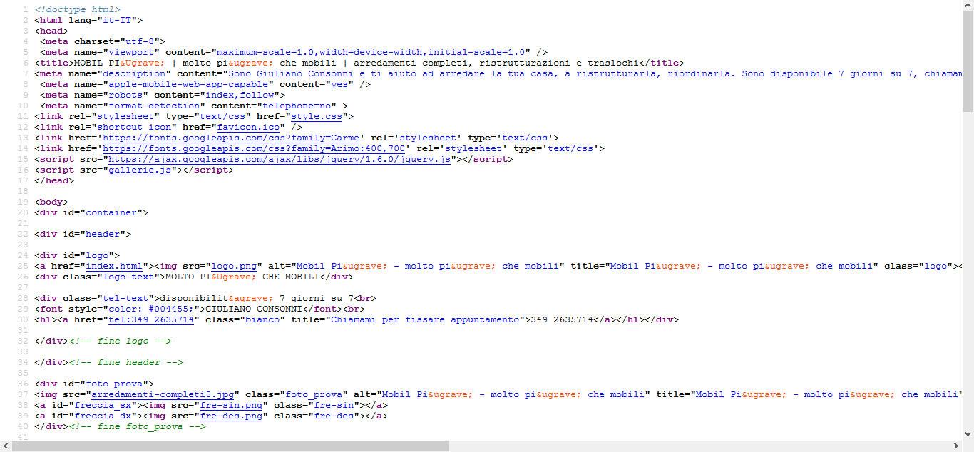 Il codice sorgente del sito Mobilpiù