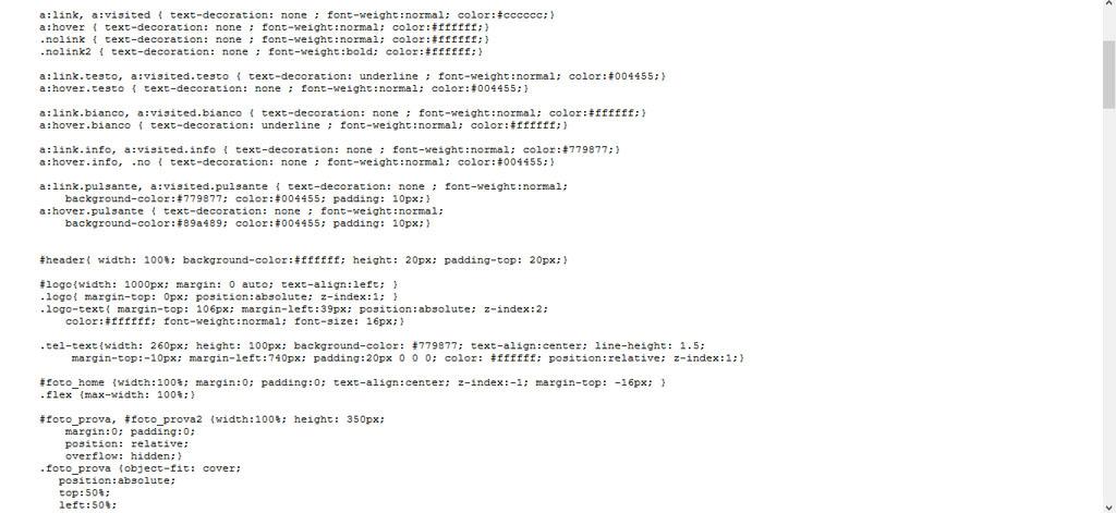 Il file css del sito Mobilpiù